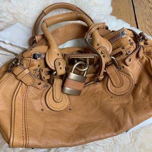 Chloe Paddington Bag in Tan Leather w/ Padlock